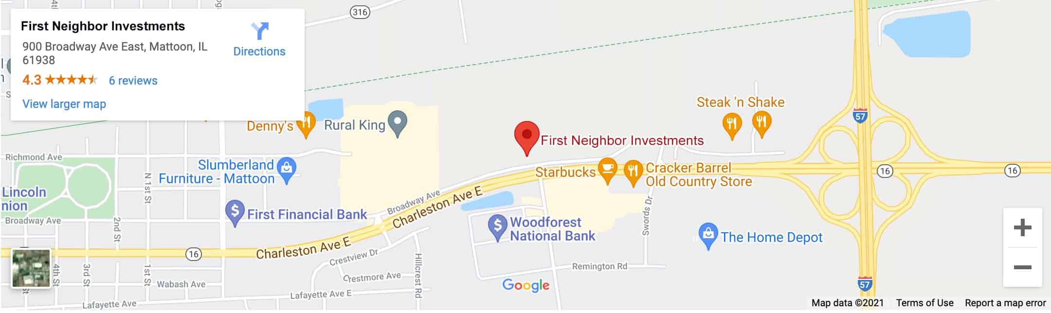 Decorative - First Neighbor Investments Mattoon Google Map Image
