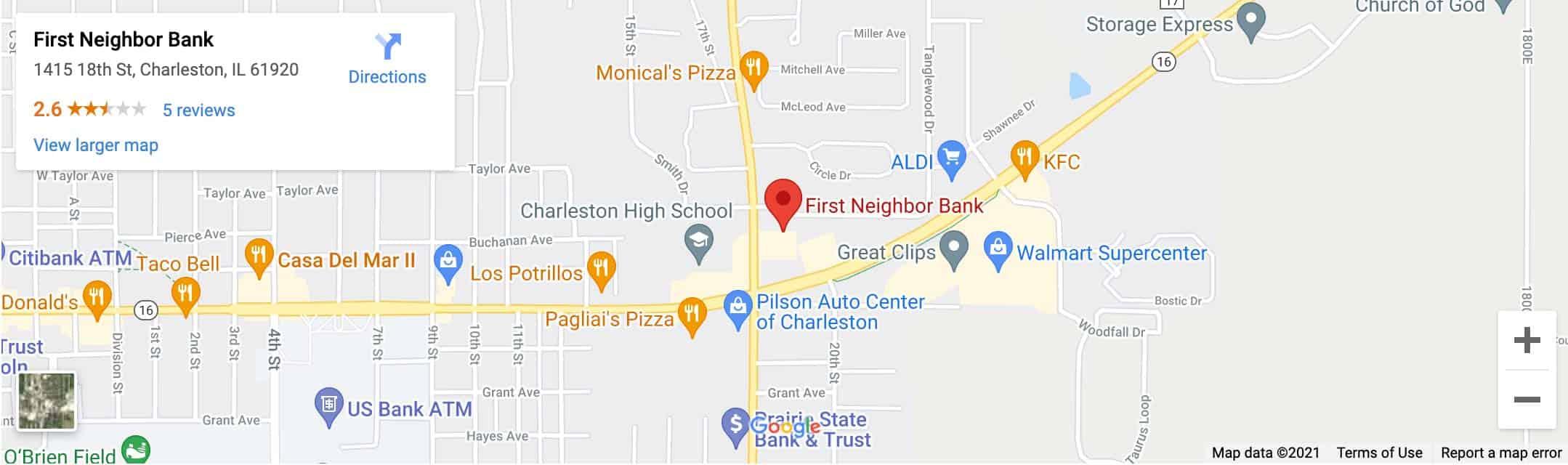 Decorative - First Neighbor Bank Charleston Google Map Image