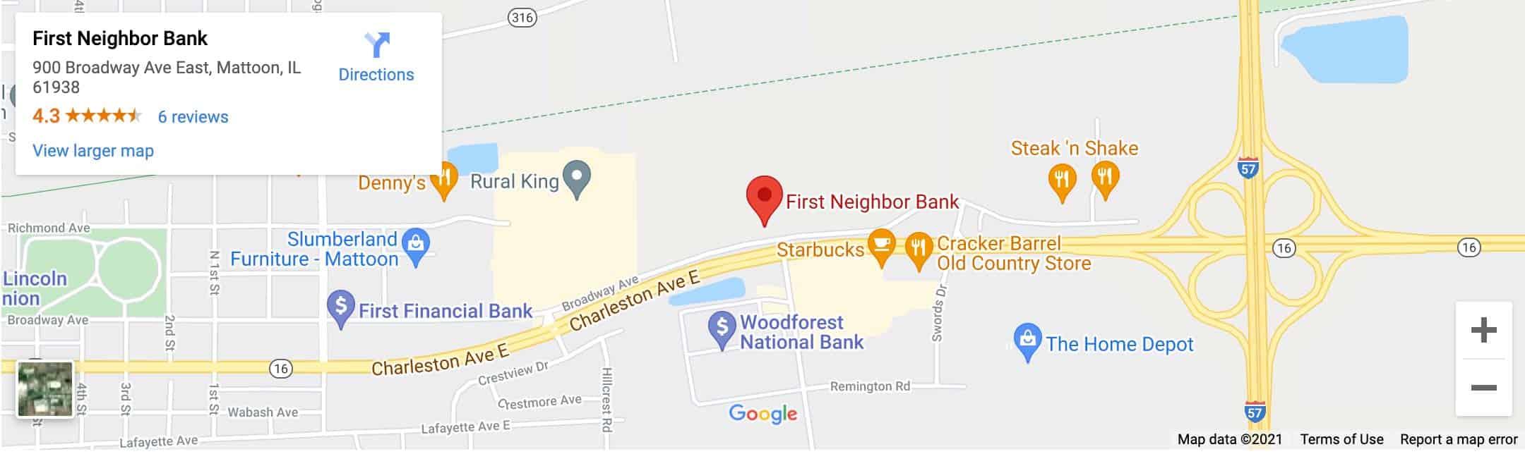 Decorative - First Neighbor Bank Mattoon Google Map Image