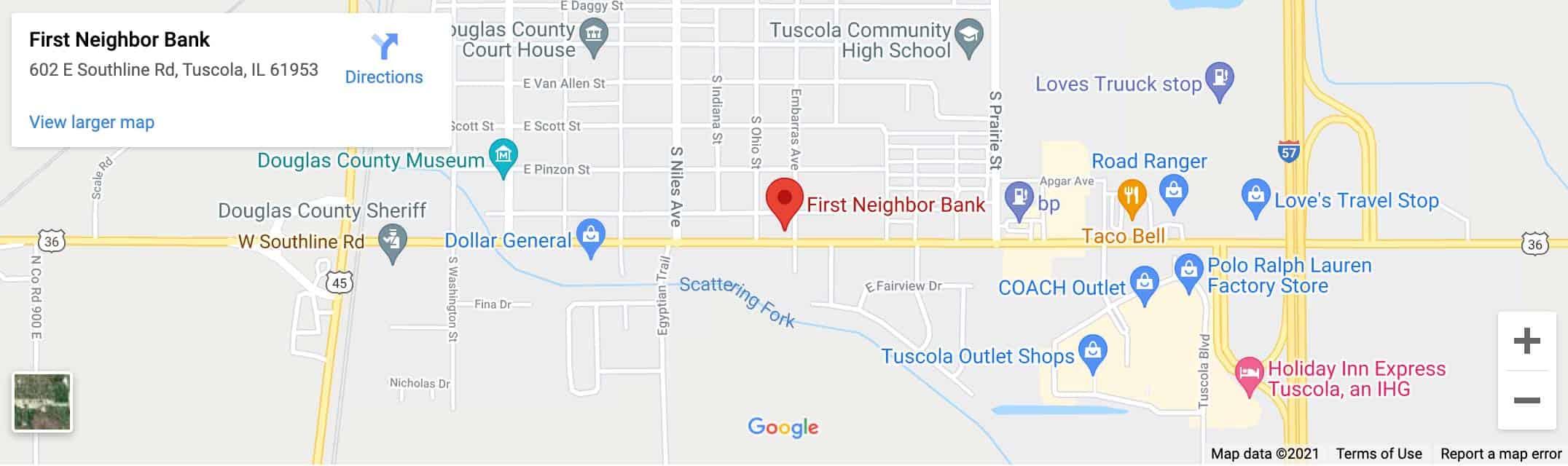 Decorative - First Neighbor Bank Tuscola Google Map Image